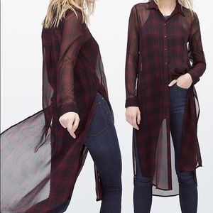 Zara plaid long length sheer top Sz large